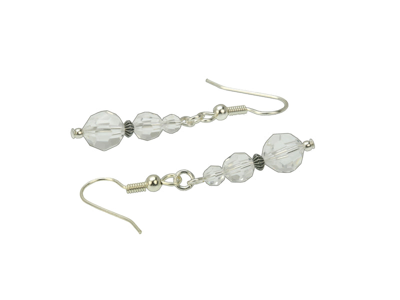 Crystal Three Bead April Birthstone Silver Earrings