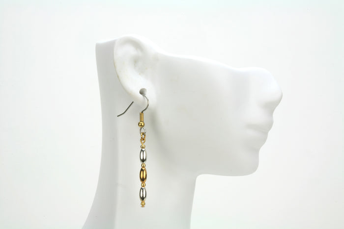 Ovals and Seed Beads Gold and Silver Earrings