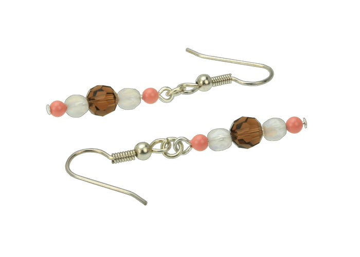 Pink Coral, Smoked Topaz and Opal Silver Dangle Earrings