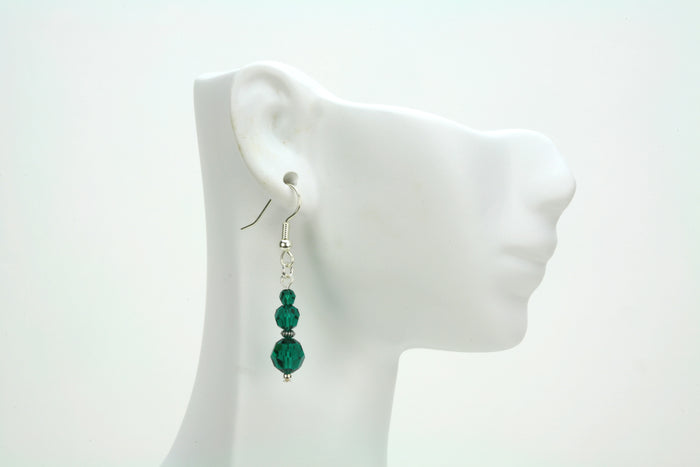 Emerald Three Bead May Birthstone Silver Earrings