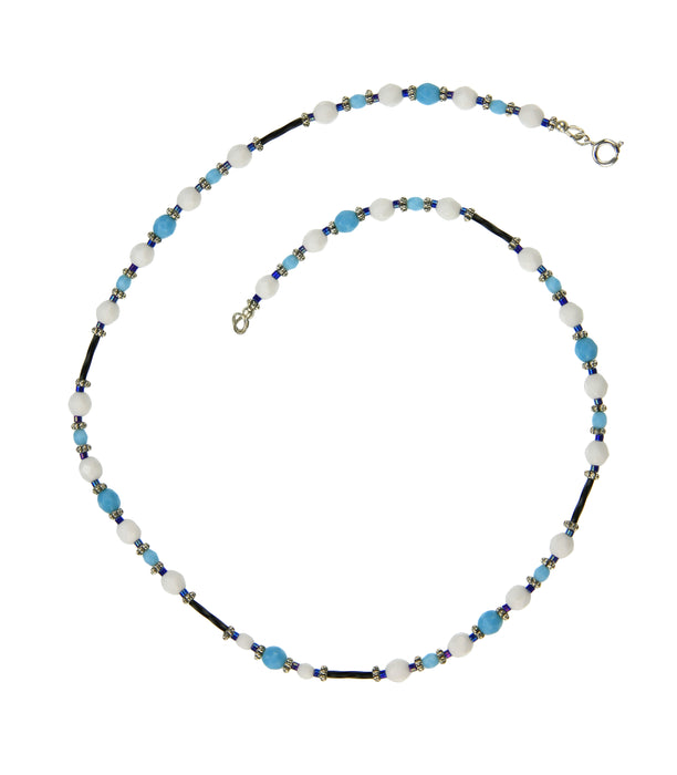 Opaque White and Turquoise Blue Silver Necklace