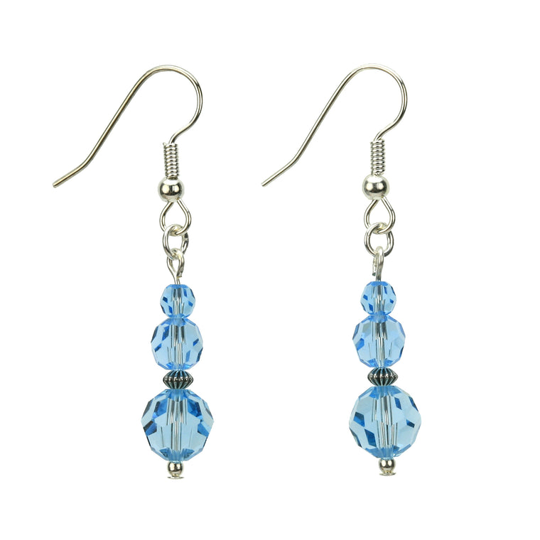 Aquamarine Three Bead March Birthstone Silver Earrings