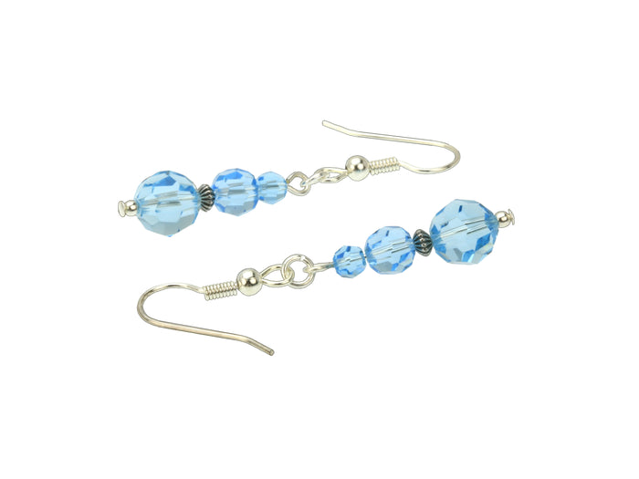 Aquamarine Three Bead March Silver Birthstone Earrings