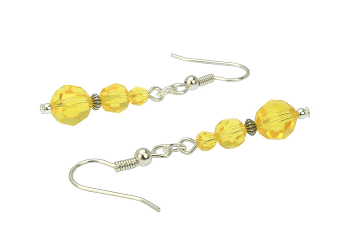 Light Topaz Three Bead Silver Earrings