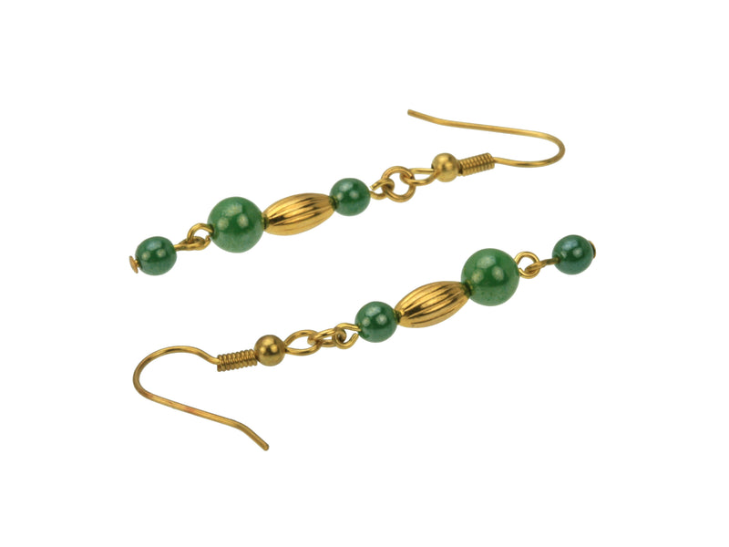 Golden Ovals and Green Luster Gold Earrings
