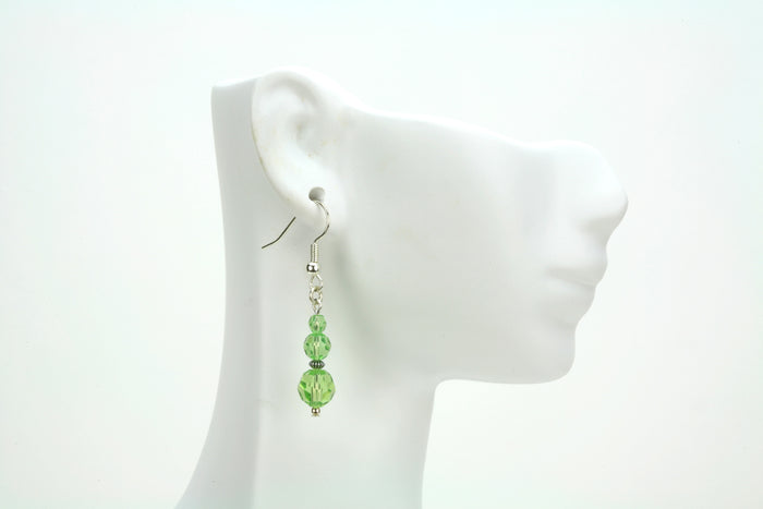 Peridot Three Bead August Birthstone Silver Earrings
