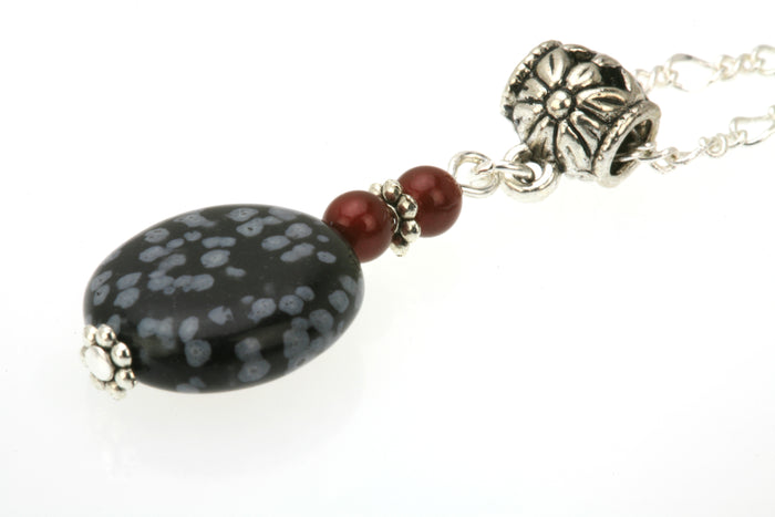 Snow Obsidian and Bordeaux Pearls Silver Pendant