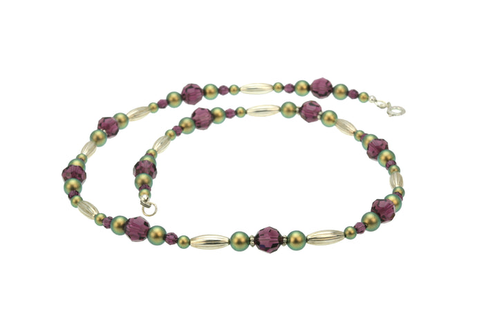 Amethyst and Iridescent Green Pearls Silver Necklace