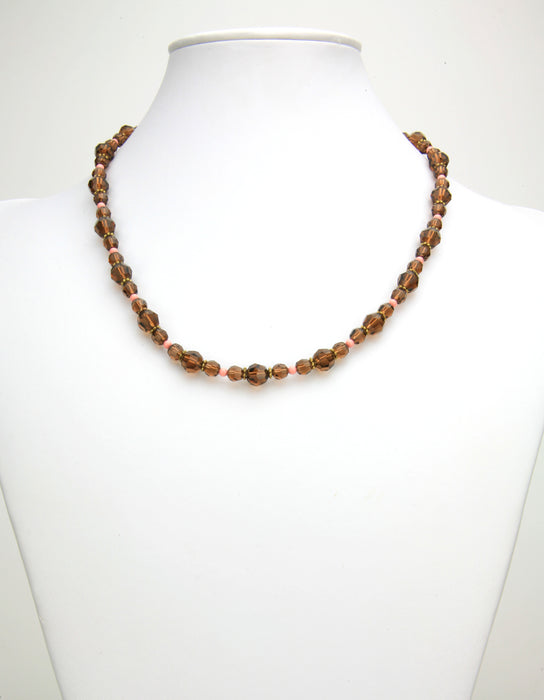 Smoked Topaz and Pink Coral Gold Necklace