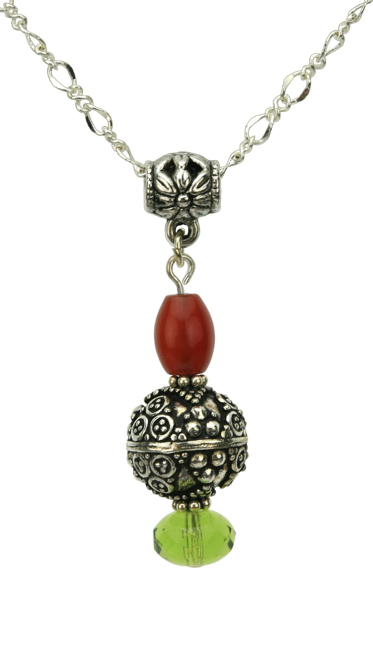 Antique Silver, Carnelian and Olivine Silver Pendant