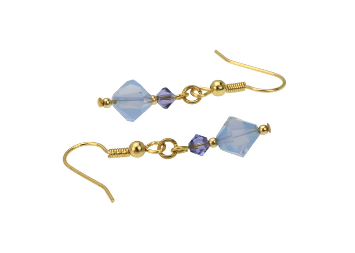 Air Blue Opal and Tanzanite Gold Earrings