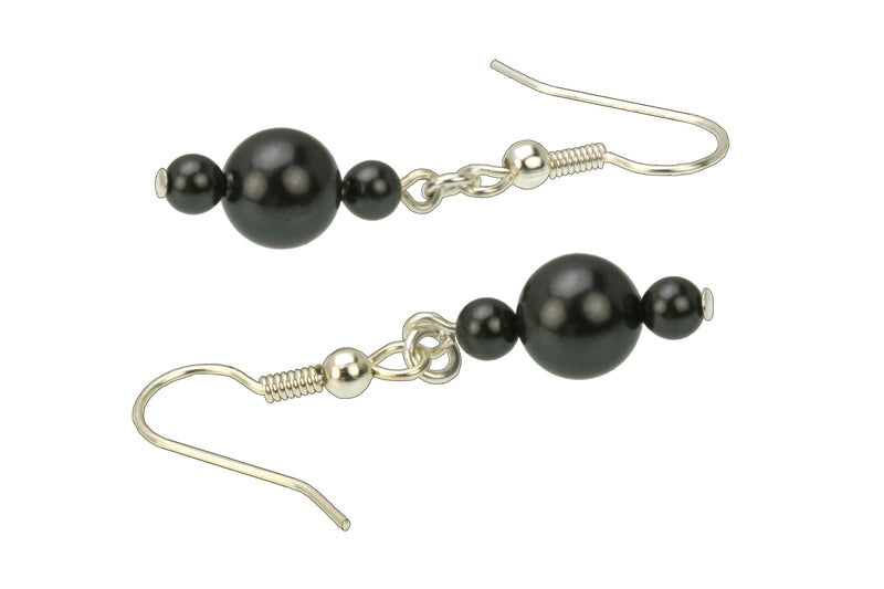 Black Pearl Silver Earrings