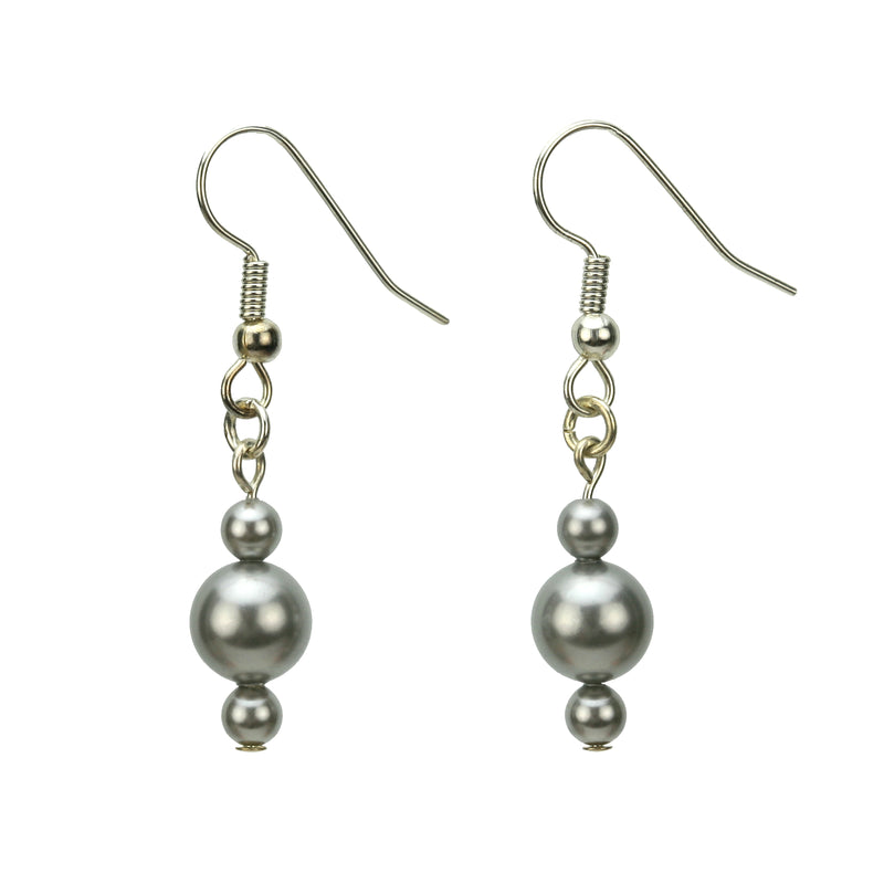 Light Grey Pearl Silver Earrings