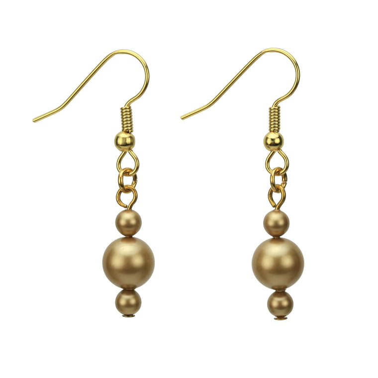 Bright Gold Pearl Gold Earrings