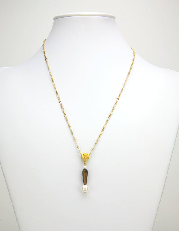 Tiger-Eye Teardrop and White Pearl Gold Pendant