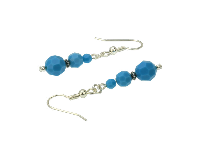 Turquoise Three Bead December Birthstone Silver Earrings
