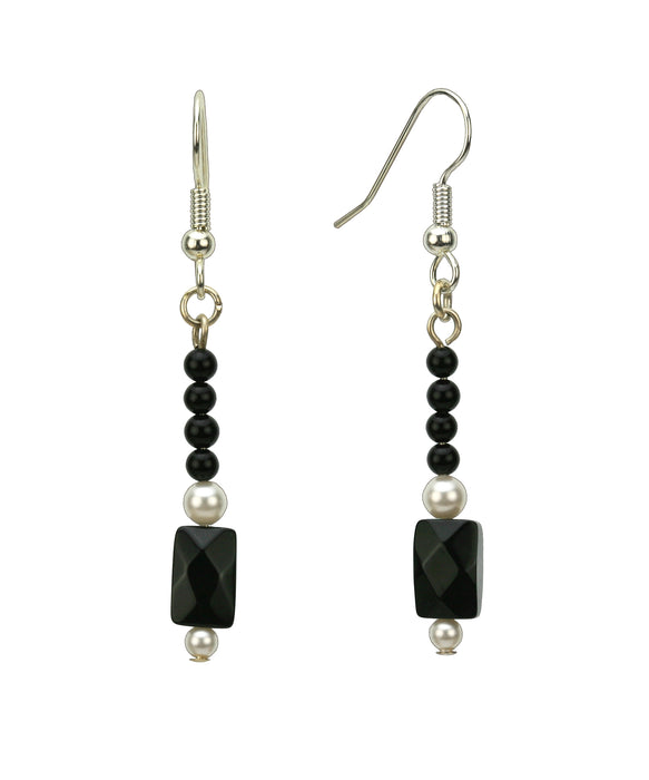 Elegant Black and White Silver Earrings
