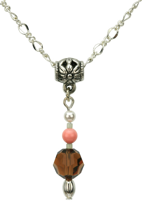 Smoked Topaz, Coral, and White Pearl Silver Pendant