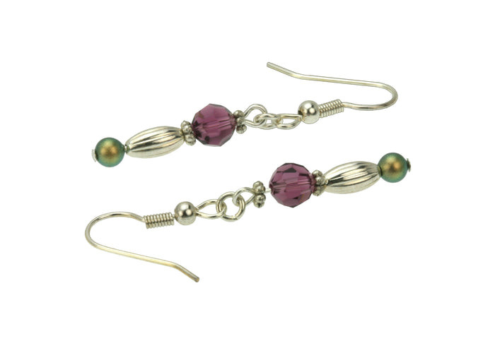 Amethyst, Iridescent Green Pearls and Silver Dangle Earrings