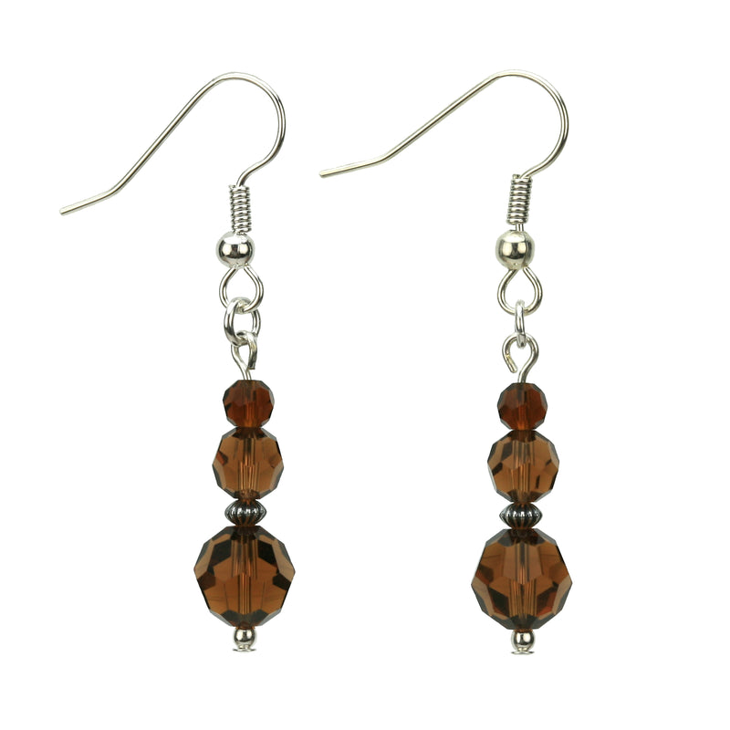 Smoked Topaz Three Bead Silver Earrings