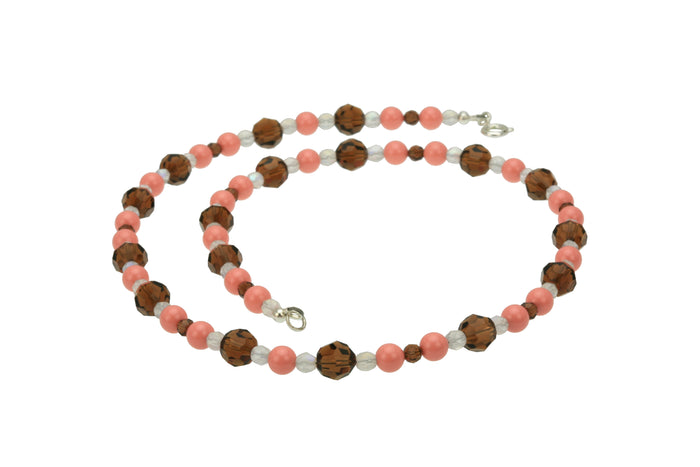 Pink Coral, Smoked Topaz and Opal Silver Necklace