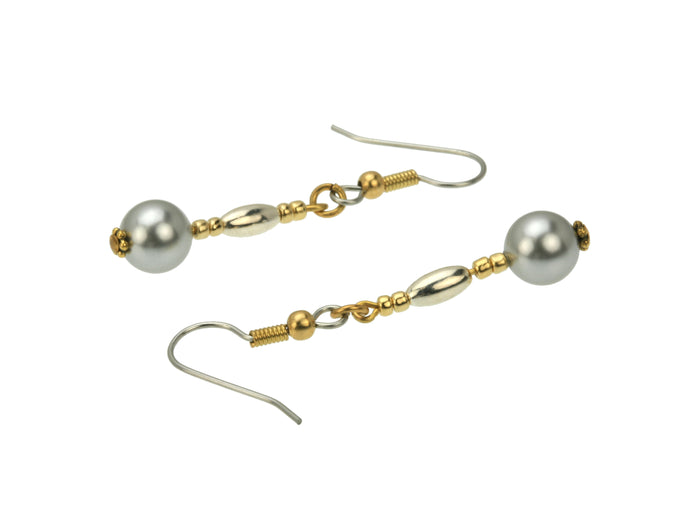 Pearls, Ovals and Beaded Rondelles Gold and Silver Earrings