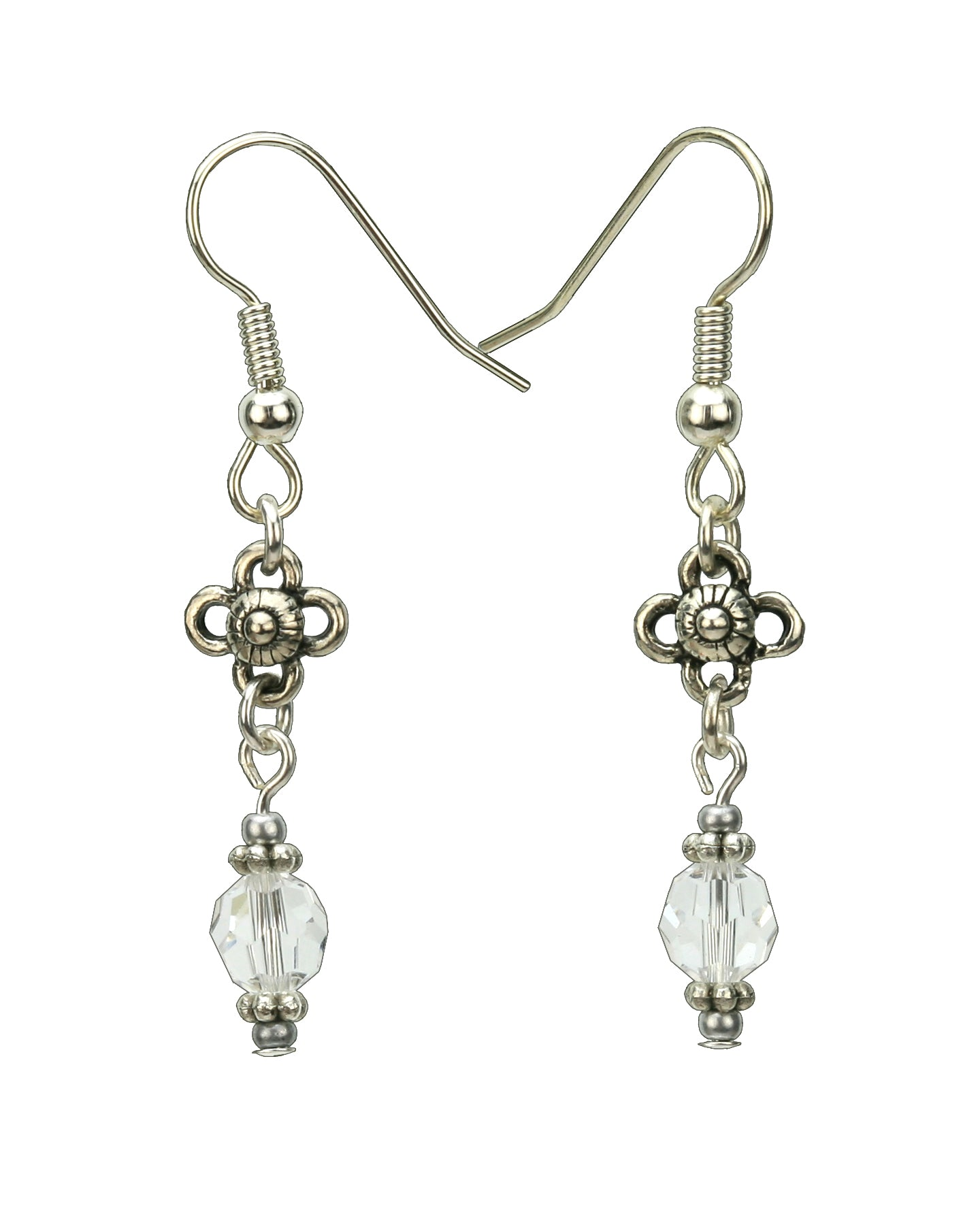 Crystal and Flower Silver April Birthstone Earrings