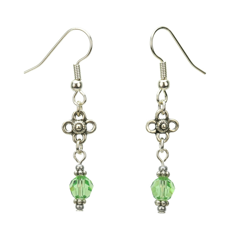 Peridot and Flower Silver August Birthstone Earrings
