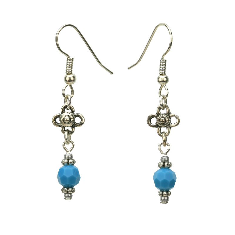 Turquoise and Flower Silver December Birthstone Earrings