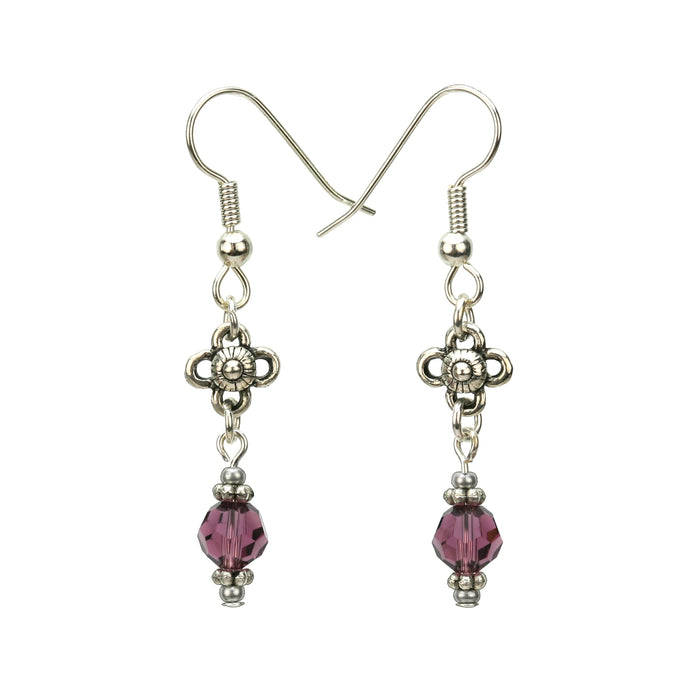 Amethyst and Flower Silver February Birthstone Earrings