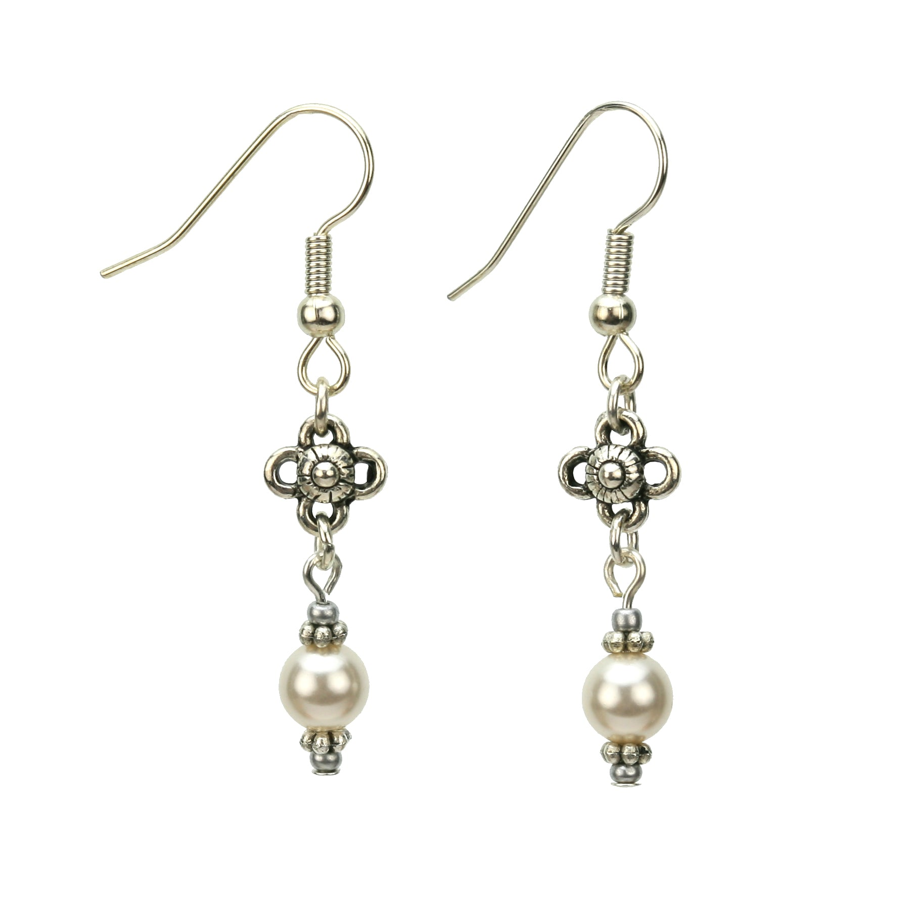 Pearl and Flower Silver May Birthstone Earrings