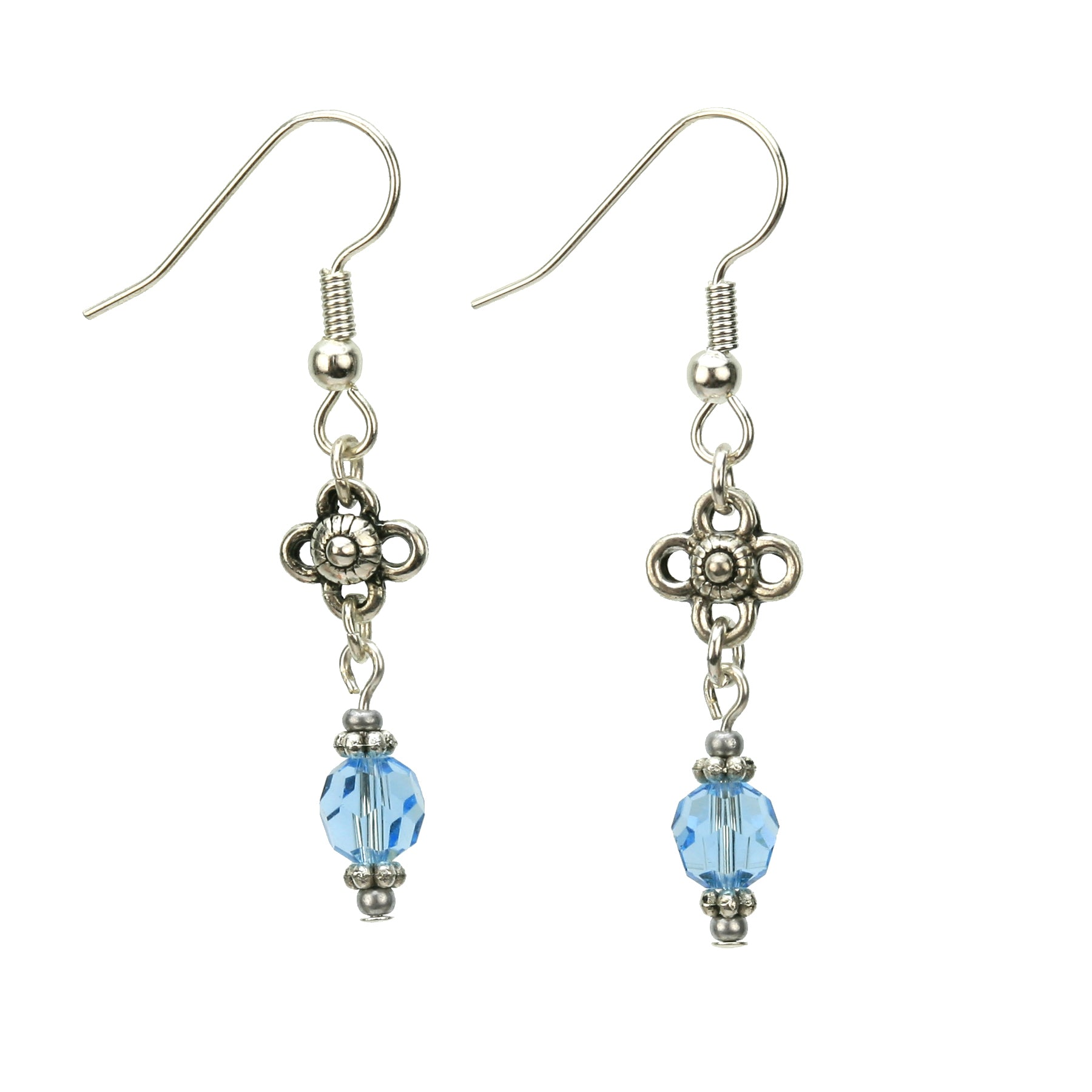 Aquamarine and Flower Silver March Birthstone Earrings