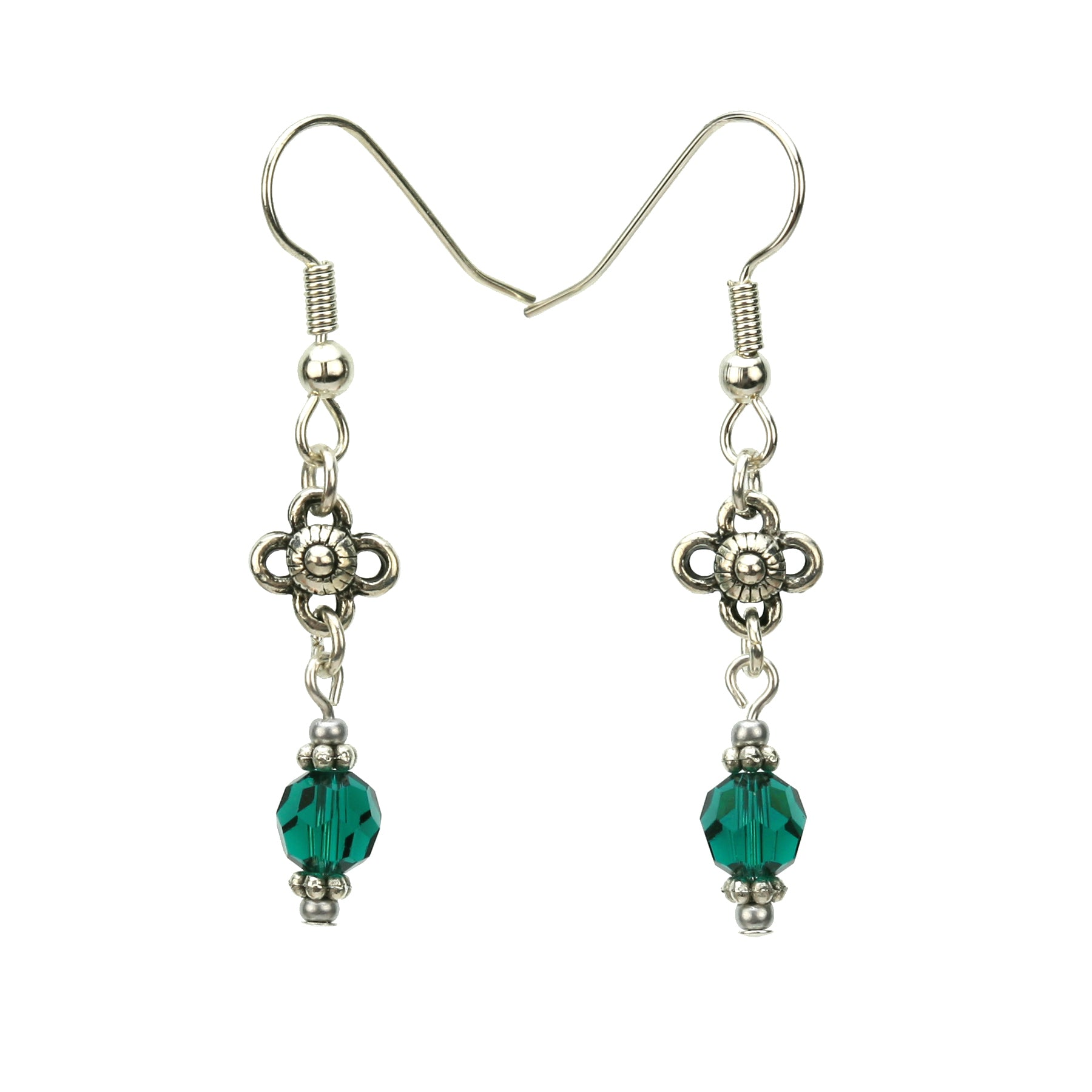 Emerald and Flower Silver May Birthstone Earrings