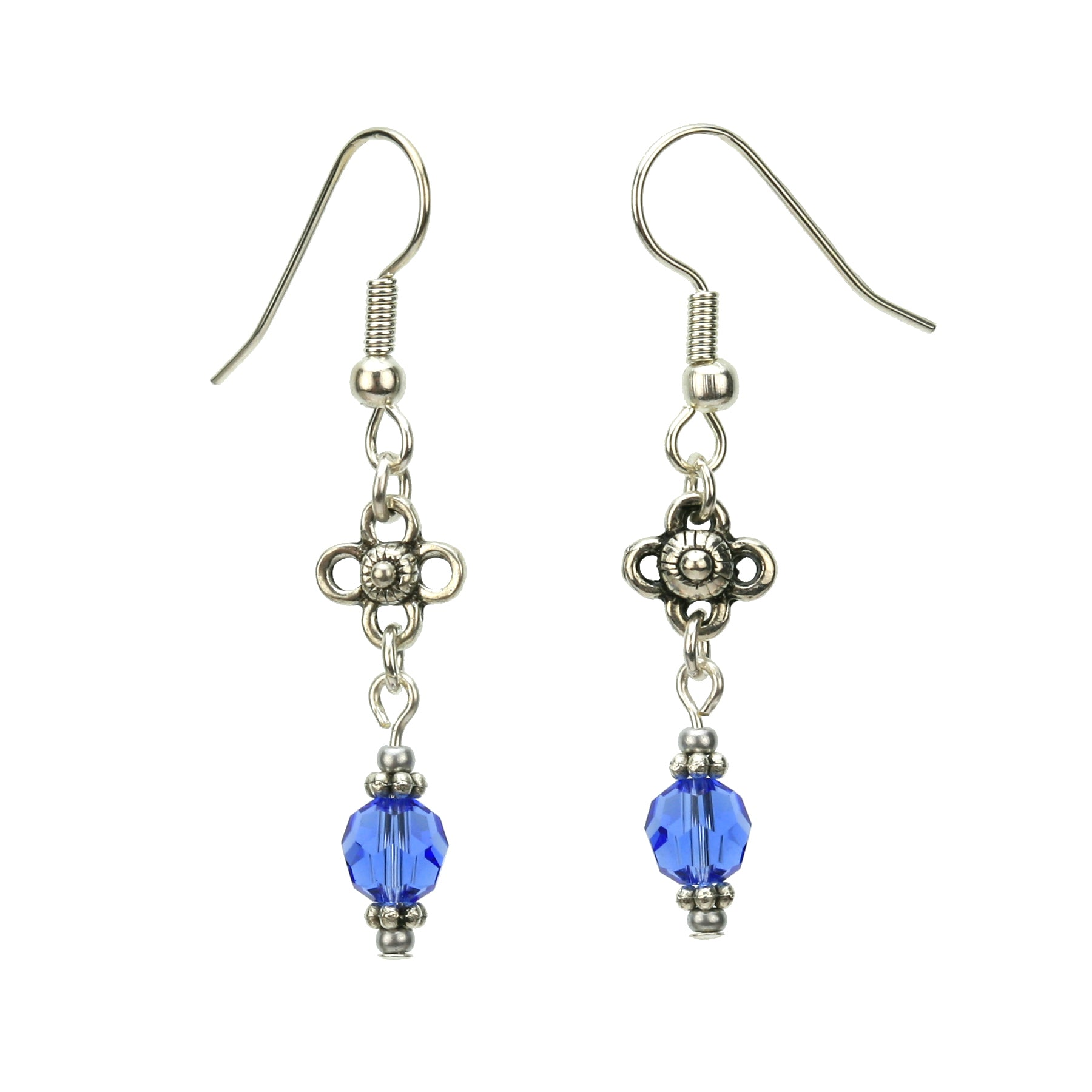Sapphire and Flower Silver September Birthstone Earrings