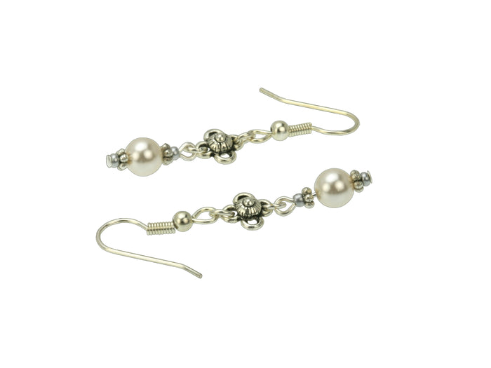 Pearl and Flower Silver June Birthstone Earrings