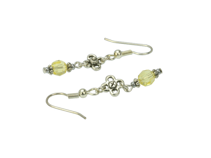 Jonquil and Flower Silver November Birthstone Earrings