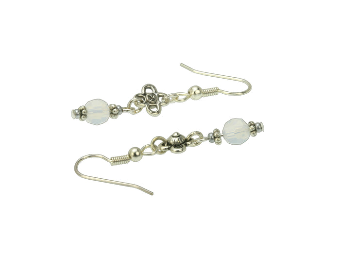 White Opal and Flower Silver October Birthstone Earrings