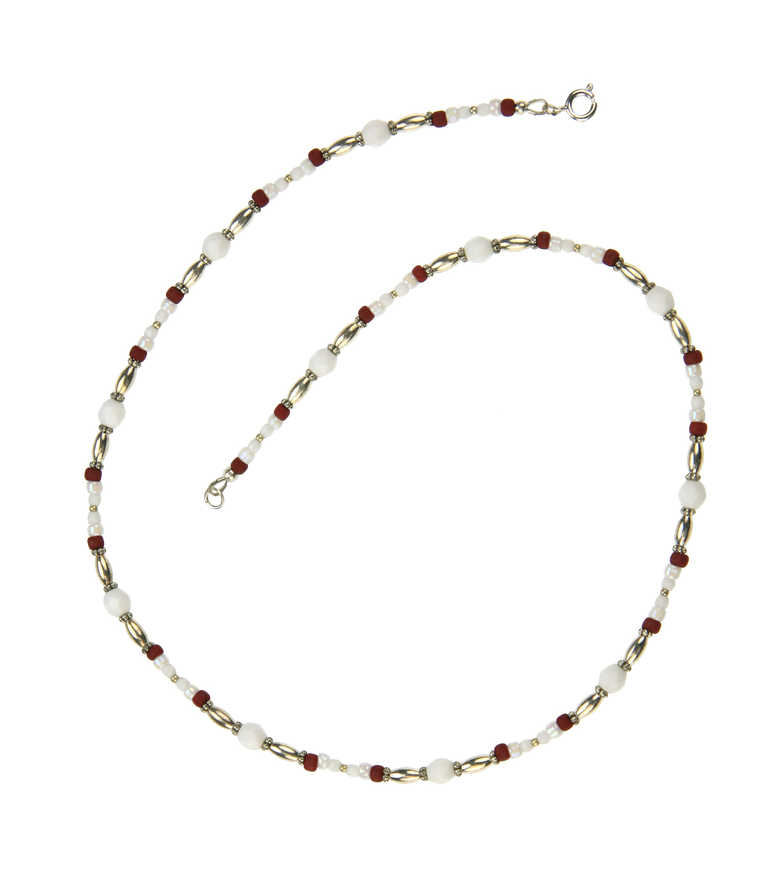 Brick Red and Opaque White Silver Necklace