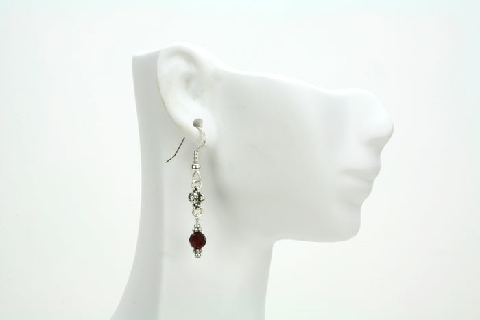 Siam and Flower  Silver January Birthstone Earrings