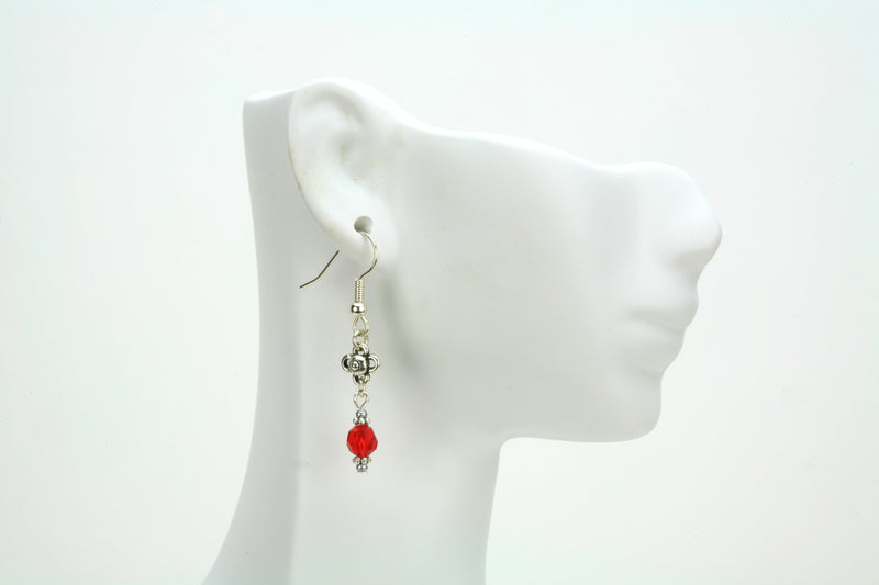 Light Siam and Flower Silver July Birthstone Earrings