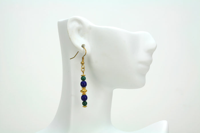 Blue and Green Gold Earrings