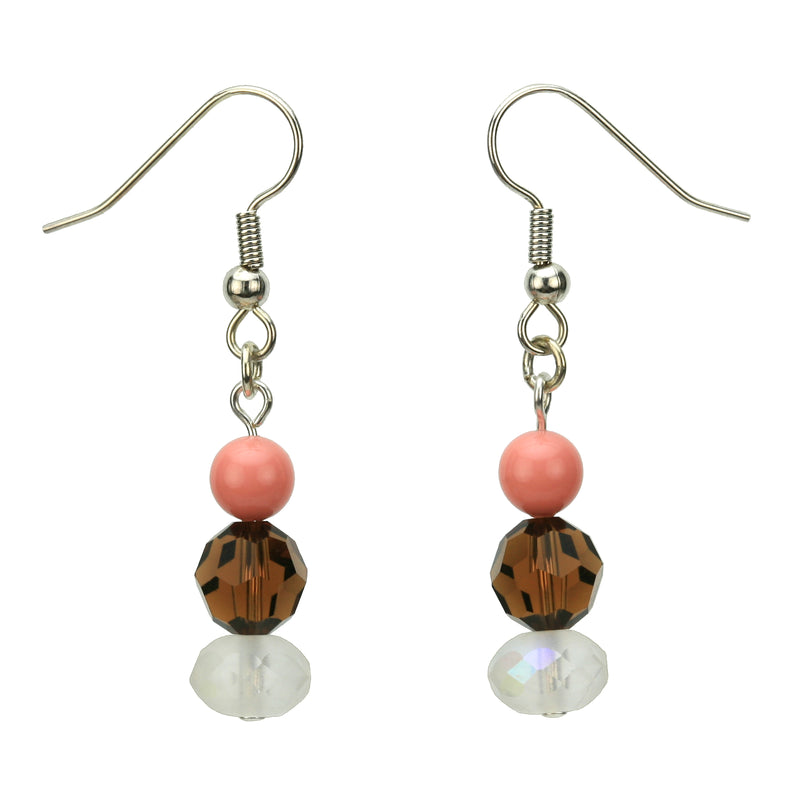 Smoked Topaz, Crystal and Pink Coral Silver Dangle Earrings