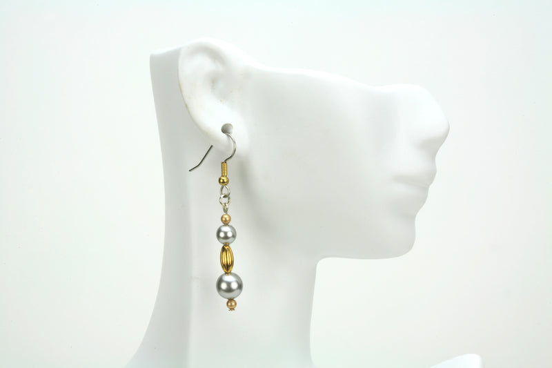 Gold Oval and Pearls Gold and Silver Earrings