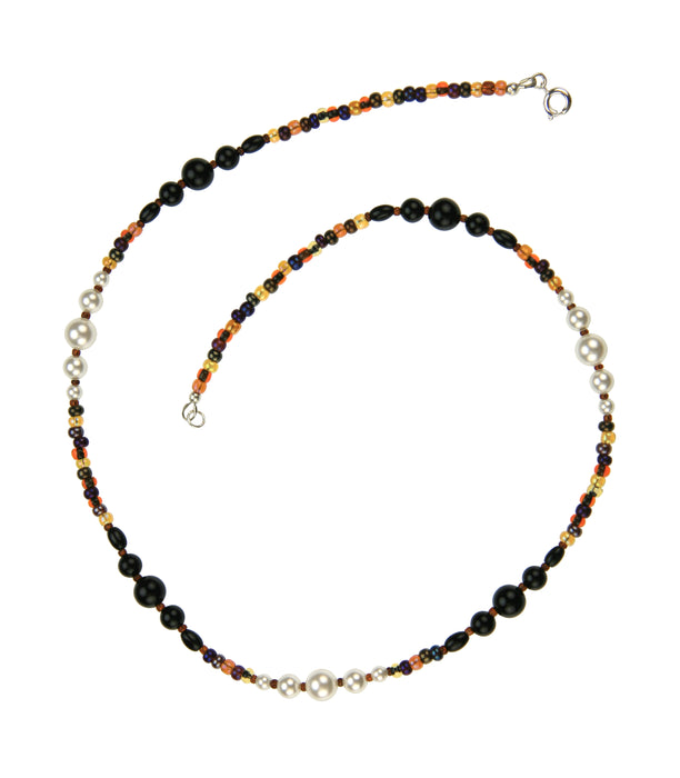 Black Onyx, White Pearls and Bronze Rocaille Silver Necklace