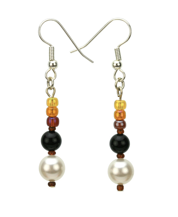 Black Onyx, White Pearls and Bronze Rocaille Silver Earrings