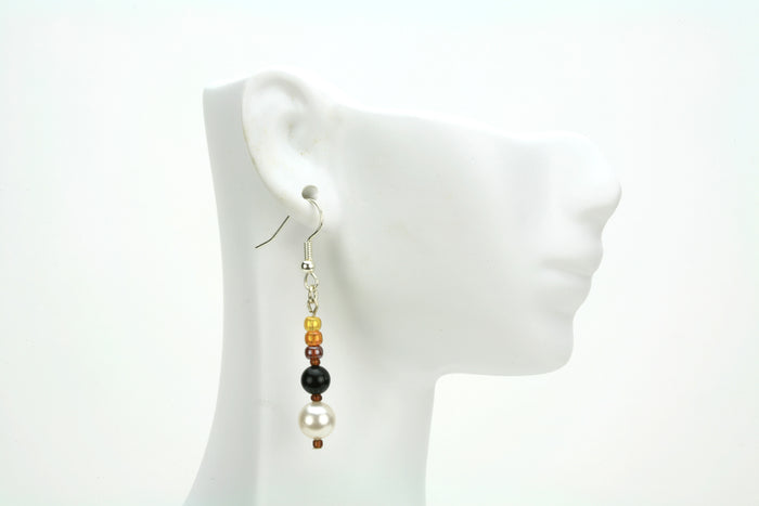 Black Onyx, White Pearls & Bronze Rocaille Silver Earrings