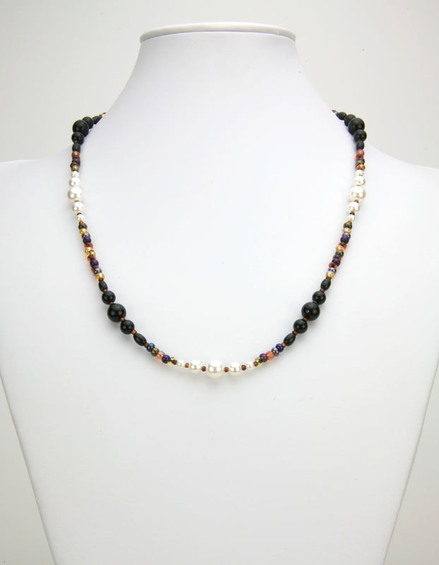 Black Onyx, White Pearls & Bronze Rocaille Silver Necklace