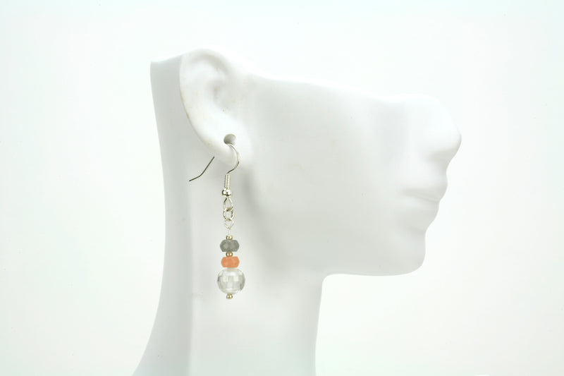Moonstone and Crystal Silver Earrings