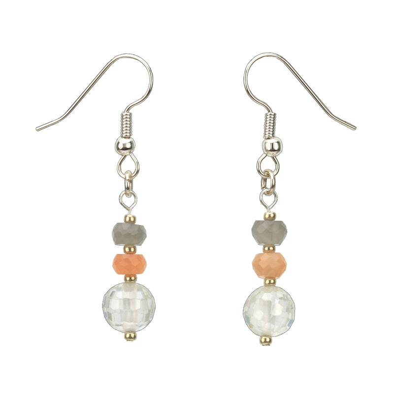 Moonstone and Silver Crystal Earrings