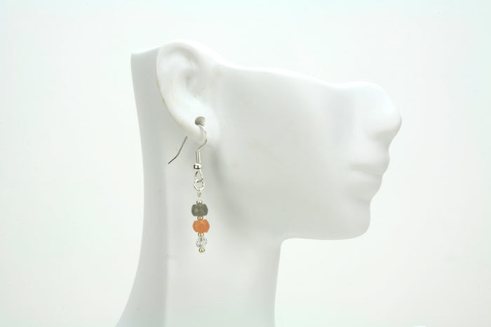 Crystal and Moonstone Silver Earrings